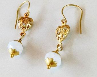 Rainbow Moonstone Gemstone and Raw Brass Flower Heart Earrings