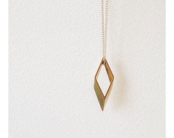 Minimalist Geometric Brass Rhombus Necklace