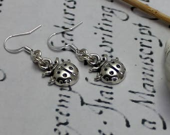 Silver Earrings with Ladybug Charm, Nature Earrings, Daughter Gift, Nature Inspired Silver Jewellery, Silver Charm Earrings, Ladybird