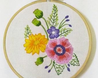 Hand Embroidery Pattern : Happy Flora , Flower pattern , PDF pattern, hand embroidery designs ,embroidery pattern