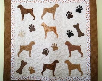 BOXERS dog quilt throw size  -  53 x 52 inches