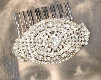 1920 Wedding Dress Sash Brooch/OOAK Hair Comb Art Deco/Edwardian Vintage Paste Pave Rhinestone Bridal Hairpiece Antique Gatsby Downton Abbey