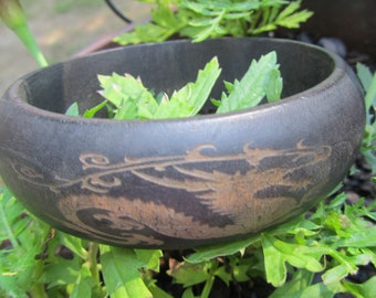 Bangle Bracelet Carved Ebony Dragon Vintage Estate Find