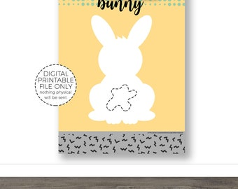 Pin The Tail On The Bunny Digital Printable Party Game Easter Game Print