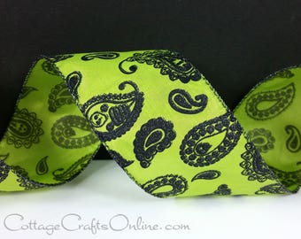 "Halloween Wired Ribbon,  2 1/2"", Black and Lime Green Glitter Paisley - THREE YARDS - ""Paisley Bones"" Green Wire Edged Ribbon"