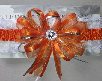 Orange Silver Prom Homecoming Garter with lace
