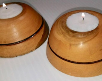 Wood turned candle holder x2