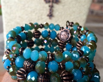 Handmade choker necklace and 4-wrap bracelet with turquoise, copper and glass beads beads with tibetan copper charms & pendant