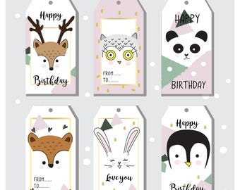Cute animal tags set for birthday, gifts, baby shower, digital printables