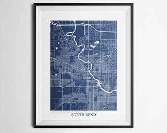 South Bend, Indiana Abstract Street Map Print