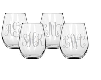 Set of 4 Monogrammed Stemless Etched Wine Glasses