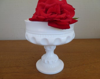 Beautiful Thumbprint Milk Glass Footed Candy Dish Compote