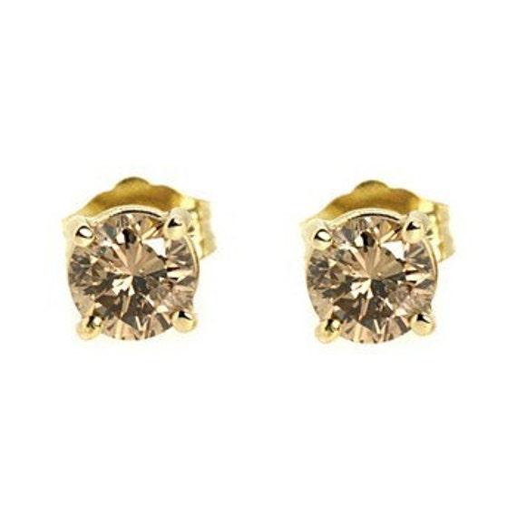 si2 i1 champagne fancy brown diamond stud earrings 14k. Black Bedroom Furniture Sets. Home Design Ideas