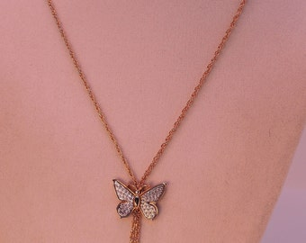 1970 Signed Avon Butterfly Faux Lariat Necklace
