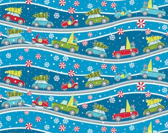 Dark Blue Street Scene from the Mulberry Lane Collection by Cherry Guidry for Contempo Studios, Christmas Fabric