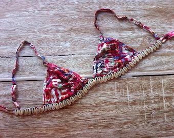 Hot Pink Shell Bralette - Pink Crayon Triangle Bra with Cowrie Shell Embellishment
