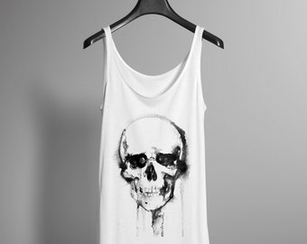 Watercolor Skull PTank - Skull Graphic Tank - Graphic Tank - Womens Tank -