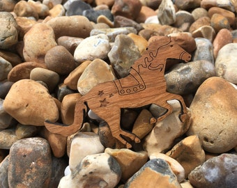 Horse Brooch - Horse Jewellery - Horse Pin - Hayley the Horse - Wooden Horse - Retro Carousel Horse - Fairground Horse - Made in Brighton