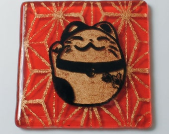 Maneki Neko Fused Glass Coaster, Kitty Coaster, Japanese, Geometric Coaster, Drinking Coaster