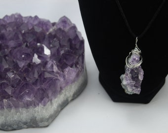 Amethyst Cluster Wire Wrap Pendant Necklace