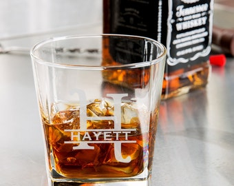 Personalized whiskey glass, Engraved whiskey glasses / Engraved Rocks Glass 9.25 oz. Custom whiskey glass, Personalized whiskey glasses