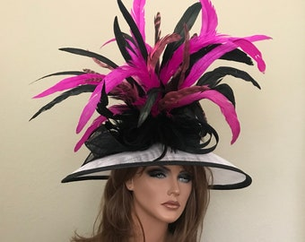 Black White Hot Pink Pink Kentucky Derby Hat Sinamay Elegant  Feathers Adjustable