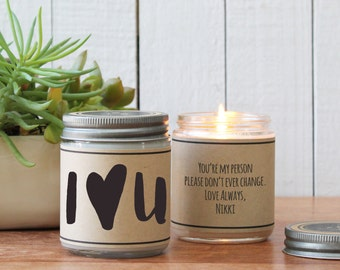 I Heart U Candle Greeting - I Love You Gift | Thinking of you Gift | Boyfriend Gift | Valentine's Day Gift | Husband Gift