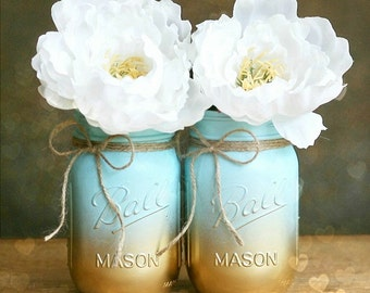 Painted Mason Jar - Vase - Home Decor - Wedding Centerpiece - Baby Shower - Mason Jar Decor - Blue Ombre - Shabby Chic