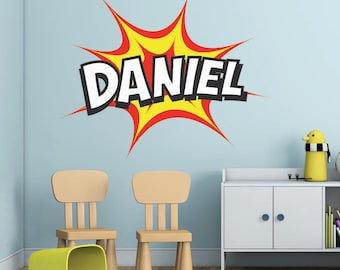 Personalised Name Cartoon Wham Comic Book Wall Art Sticker Decal Mural, Other COLOURS Available, Personalised with YOUR name