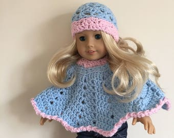 Pink doll hat and poncho set with blue trim will fit American girl doll, and other 18 inch dolls), doll clothes, doll hat, doll poncho, pink