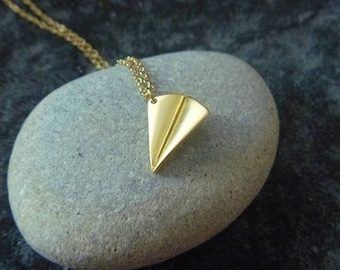 origami airplane gold necklace