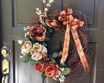 Wispy Grapevine with fall roses,berries, front door wreath, door decor,wall decor,large wreath,fall wreath,thanksgiving wreath, wreath
