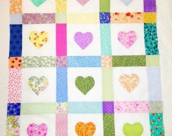 Applique Hearts Baby Quilt Top