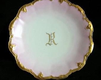 """Limoges France Porcelain Plate Monogrammed Plate Letter """"R"""" Artist Signed- 1900's-SUPER SALE"""