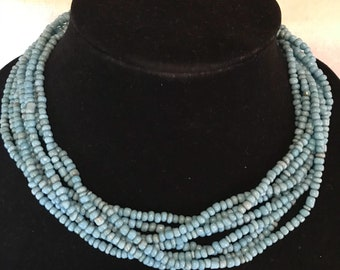 8 Eight Strand Turquoise Glass Bead Torsade Necklace