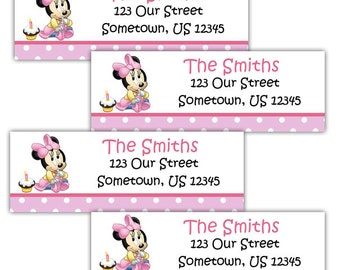 Baby Minnie Mouse - Personalized Address labels, Stickers
