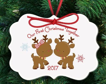First Christmas together reindeer ornament - adorable couples 1st Christmas custom ornament  FCTRO