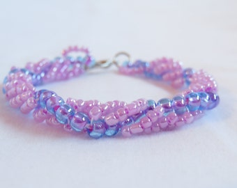Tween Size Lacy/Spiral Beadwoven Bracelet in Pink, Purple, and Blue