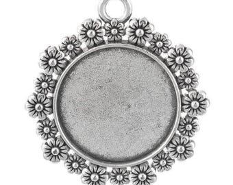 medium round cabochon silver 34x31mm