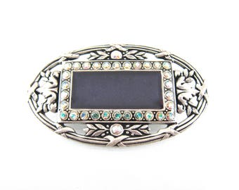 Vintage Catherine Popesco Signed Dark Blue Enamel, Swarovski Crystal And Sterling Silver Designer Brooch/Pin-Made In France