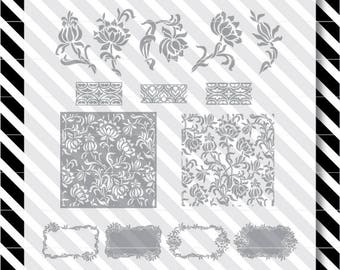 flowers and frames svg cut file - floral art design pack - svg floral design- dxf file - svg cut file - flower svg - floral cut file - dxf