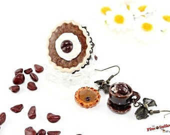 Coffee cup and coffee pie set earrings and coffee pie ring