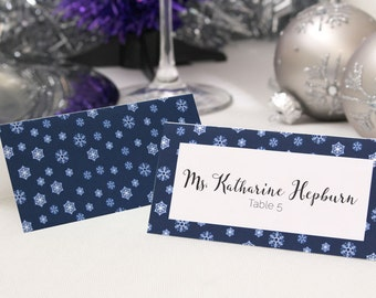FULL SERVICE Escort Cards Wedding Party Winter Christmas New Years Snowflake Ice- Navy Blue