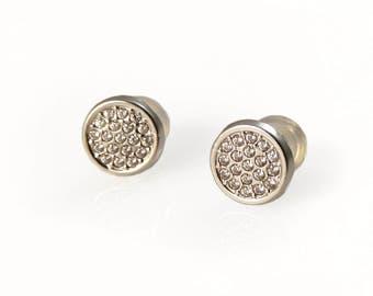 14K white gold . cz earrings. White gold elegant stud earrings. White gold post earrings. Gold earrings. gold crystal studs.