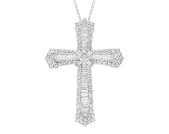 Intricate Real Diamond 18k Gold Cross, 2.23ct 18K White Gold Baguette Diamond Cross Pendant Necklace VS2 F color