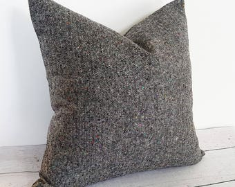 Tweed Pillows, Textured Pillows, Pillow Covers, Black Wool Pillow, Gray Grey Black White, MultiColored Flecks, Ready to ship, 14x20, 20x20