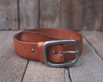 SALE - gift for him // Tan Leather Belt Simple Unisex Vintage Style