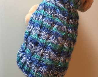 Dog Sweater XXX Small - Teacup - Tiny Dog Sweater - Yorkie - Chihuahua - Finished and ready to ship - Blue Dog Sweater