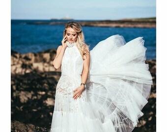 Wedding dress, boho style dress, lace dress, ivory dress.