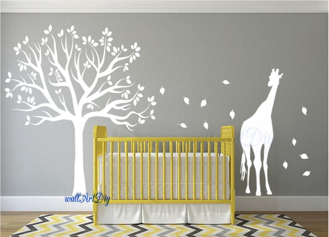 nursery wall decals tree wall stencil white tree wall decals. Black Bedroom Furniture Sets. Home Design Ideas